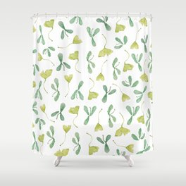 "Watercolor Painting of Picture ""Green Leaves"" Shower Curtain"