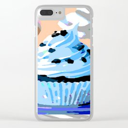 Chocolate Cupcake with Blue Buttercream Clear iPhone Case