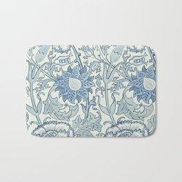 William Morris Beautiful floral pattern, blue,rose,william Morris pattern, art nouveau pattern Bath Mat