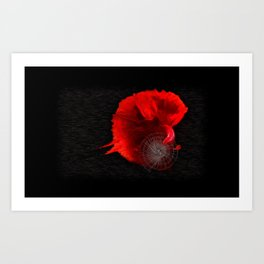 Diving in Red Art Print