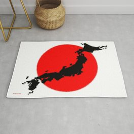 Japan Map with Japanese Flag Rug