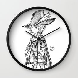 Red Mage - Black and White Wall Clock