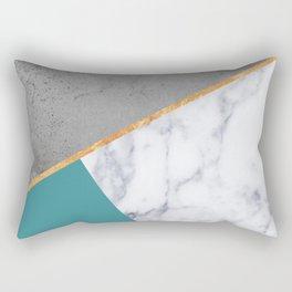 MARBLE TEAL GOLD GRAY GEOMETRIC Rectangular Pillow