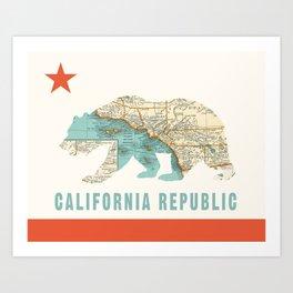 California Bear Flag with Vintage Map Art Print