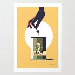 Olive oil vintage poster greece Art Print
