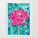 Sacred Lotus – Magenta Blossom with Turquoise Wash by catcoq