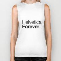 helvetica Biker Tanks featuring helvetica by muffa