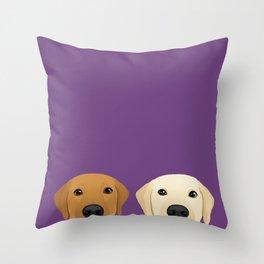 Tan Lab & Yellow Lab Throw Pillow