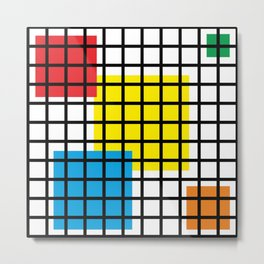 Modern geometric background, red, yellow, green,orange and blue  #society6 #decor #buyart #artprint Metal Print