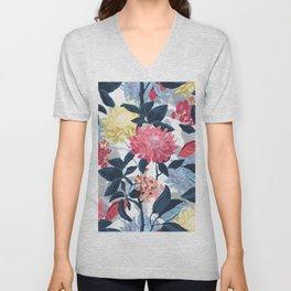 Watercolor Farmhouse Flowers Unisex V-Neck