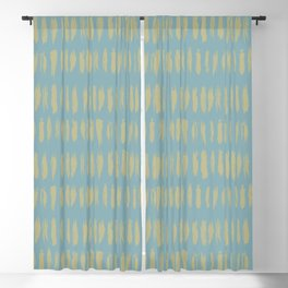 Earthy Green on Tranquil Blue Parable to 2020 Color of the Year Back to Nature Grunge Vertical Dash Blackout Curtain