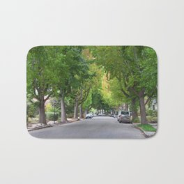 Old Tree Lined Neighborhood end of Summer Bath Mat