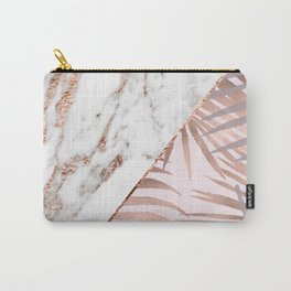 Rose gold marble & tropical ferns Carry-All Pouch