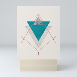 TEAL COPPER AND BLUSH GEOMETRIC Mini Art Print
