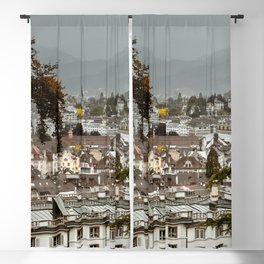 Switzerland Photography - Lucerne Under The Gray Sky Blackout Curtain