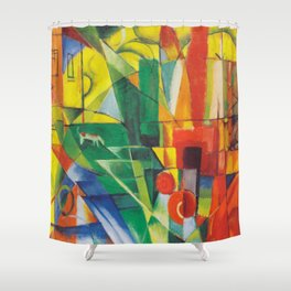 "Franz Marc ""Landscape with House and Two Cows (also known as Landscape with House, Dog and Cattle)"" Shower Curtain"
