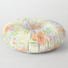 hawaiian tropical flowers yellow Floor Pillow