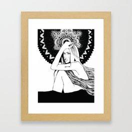 The girl looks into infinity Framed Art Print