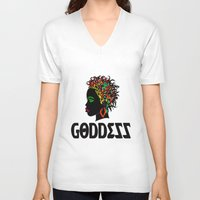 goddess V-neck T-shirts featuring Goddess by RespecttheQueenDecor
