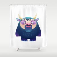 dad Shower Curtains featuring Dad Monster  by Maryam Sefati