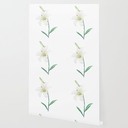 white lily watercolor Wallpaper