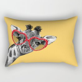 Hipster Giraffe with Glasses Rectangular Pillow