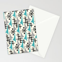 Mid Century Modern Atomic Wing Composition Blue & Grey Stationery Cards