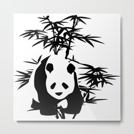 Giant Panda Bear and Bamboo Tree Metal Print