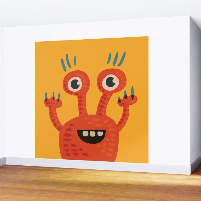 Funny Orange Happy Creature Wall Mural