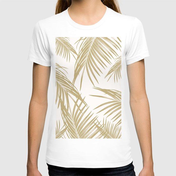 Gold Palm Leaves Dream #1 #tropical #decor #art #society6 T-shirt