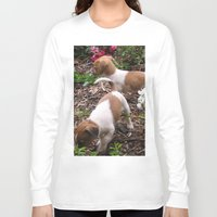 puppies Long Sleeve T-shirts featuring Puppies In The Garden by Samantha Georga