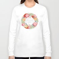 thanksgiving Long Sleeve T-shirts featuring Thanksgiving thank you card by Yuliya
