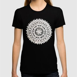 Metallic White Floral Mandala on Black Background T-shirt