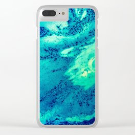 Blue and Green Smooth Texture Clear iPhone Case