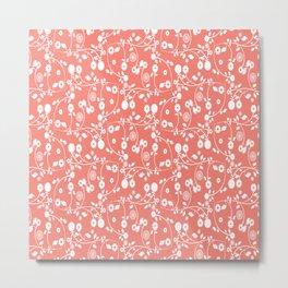 Salmon Pink Floral Pattern Metal Print
