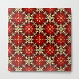 Ruby Red and Gold Pattern Metal Print