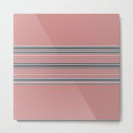 Blush Pink Teal Stripe Design Metal Print