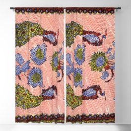 Flower Peacock Traditional Indonesian Batik Pattern Blackout Curtain