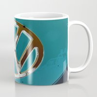 vw bus Mugs featuring Turquoise Beauty VW Bus by wildVWflower