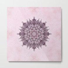 Pink Mandala Fractal Art Metal Print