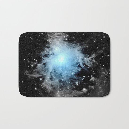 Orion nebULa Black White Blue Space Bath Mat