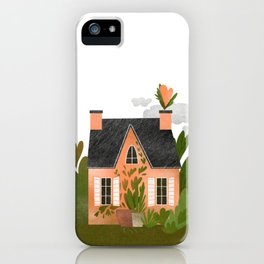 Little cozy countryside house in green iPhone Case