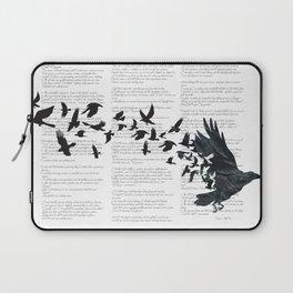 Vintage Style Print with Poem Text Edgar Alan Poe: Edgar Alan Crow Laptop Sleeve