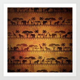 African Animal Pattern Art Print