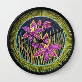 Queen of Sheba Orchid mandala Wall Clock