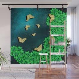 clover and butterflies Wall Mural