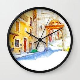 L'Aquila: city gate with scaffolding Wall Clock