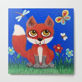 Baby Fox in the Sunshine Metal Print