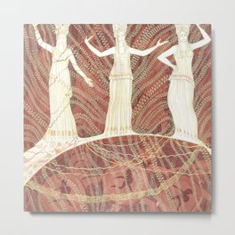Greece / Cariatides, Bacchantes, and Warriors, White & Terracotta Metal Print