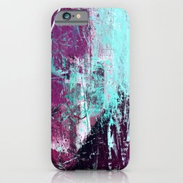 01012: a vibrant abstract piece in teal and ultraviolet iPhone Case